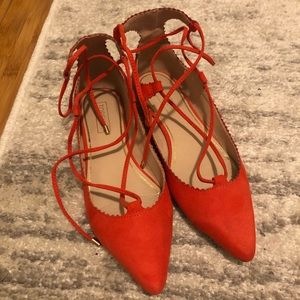 Topshop Red Lace Up Flats